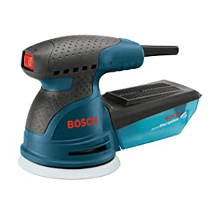 BOSCH ROS20VSK Palm Sander - 2.5 Amp 5 in. Corded Variable Speed Random Orbital Sander/Polisher Kit with Dust Collector and Hard Carrying Case, Blue
