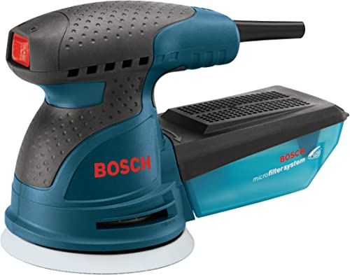 Bosch ROS20VSK Palm Sander – 2.5 Amp 5 in. Corded Variable Speed Random Orbital Sander Polisher Kit with Dust Collector and Hard Carrying Case