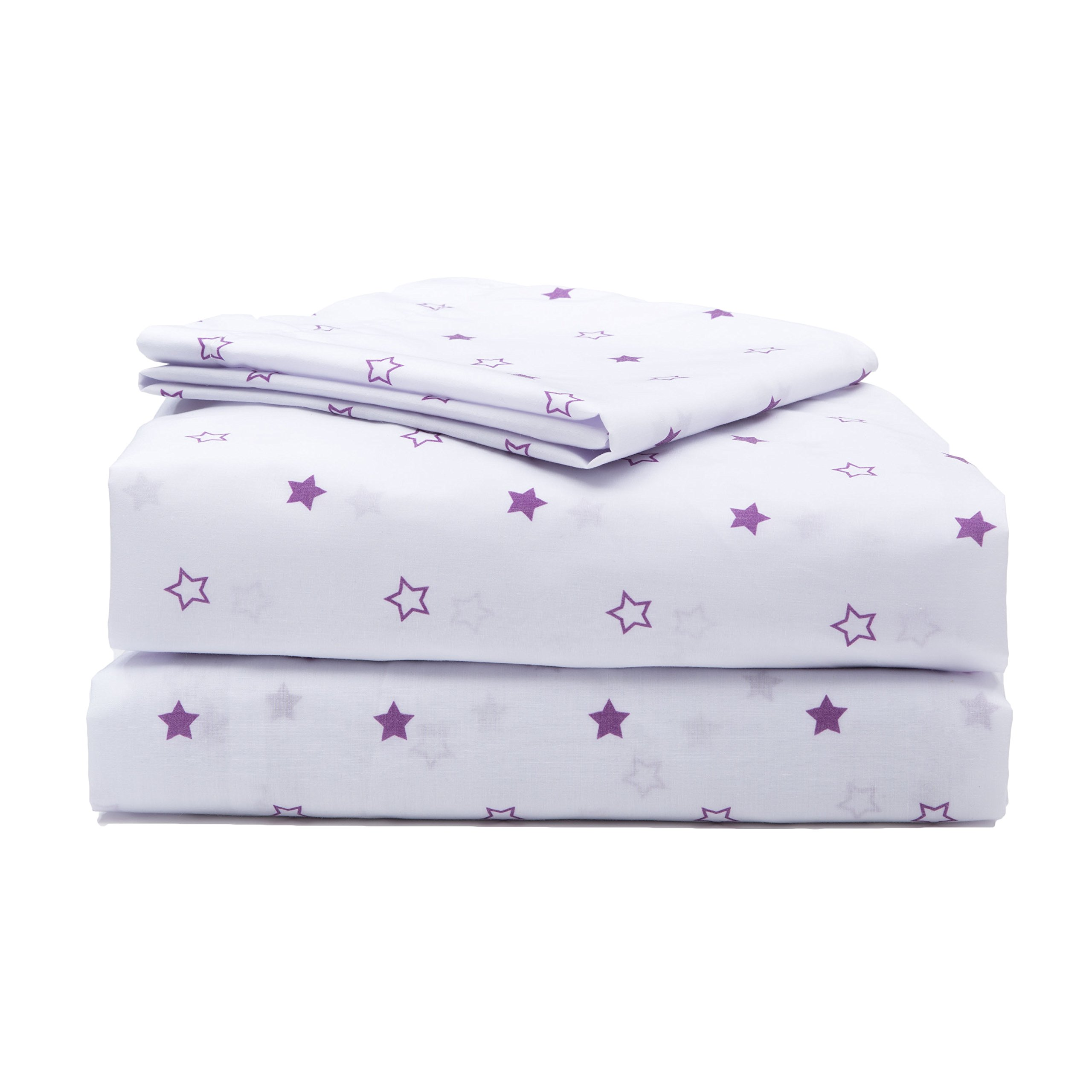 Girls Toddler Sheet Set, 3-Piece Purple Stars by Delta Children