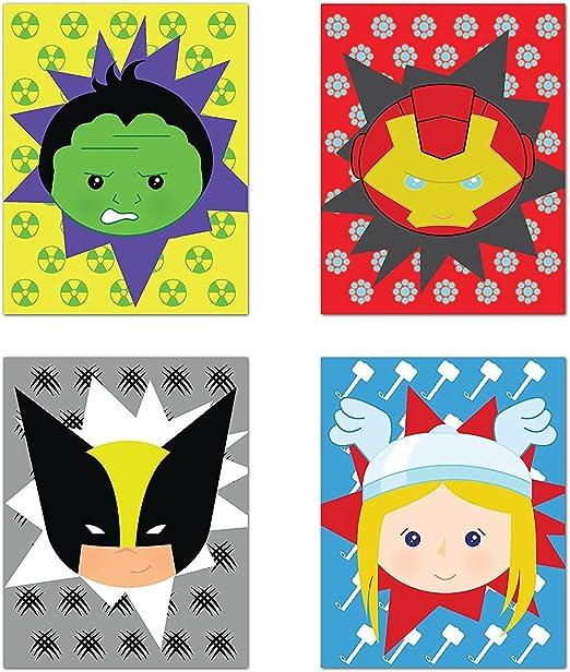 Superheros Decor Superhero Wall Art Hulk Iron Man Thor Wolverine Baby Boy Nursery Decor Set of Four 08x10 Inch Print Children Inspire Design