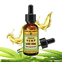 Hemp Oil 500 000 mg 100% Natural Extract, Supports Anti Anxiety and Stress, Natural...