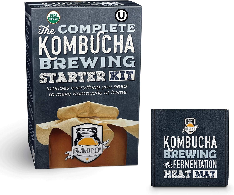 The Complete Kombucha Brewing Starter Kit | Fermentaholics USDA Certified Organic Making Kit (The Deluxe Kombucha Brewing Kit)