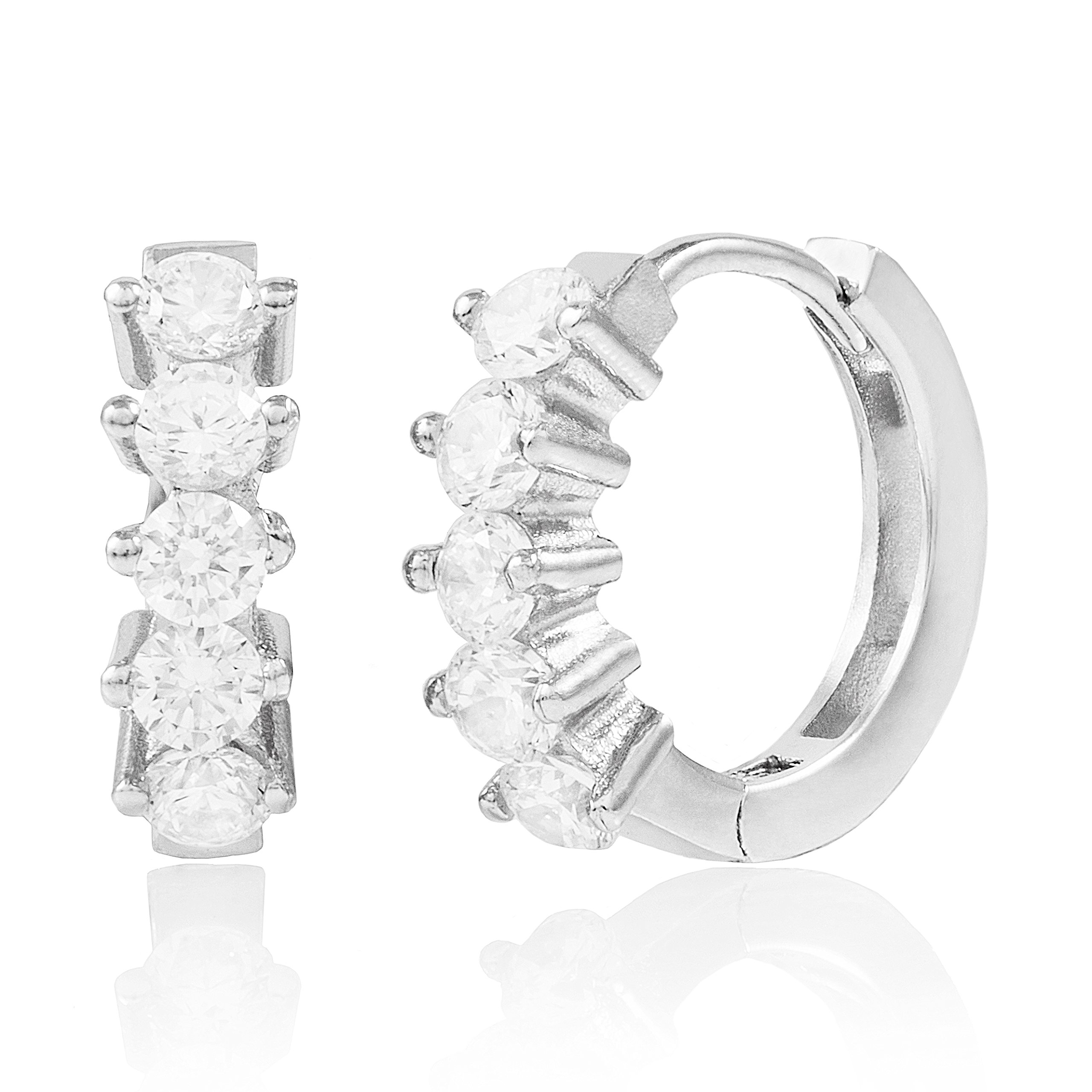 Rhodium Plated Sterling Silver Cubic Zirconia 2-Prong Set Huggie Hoop Earrings