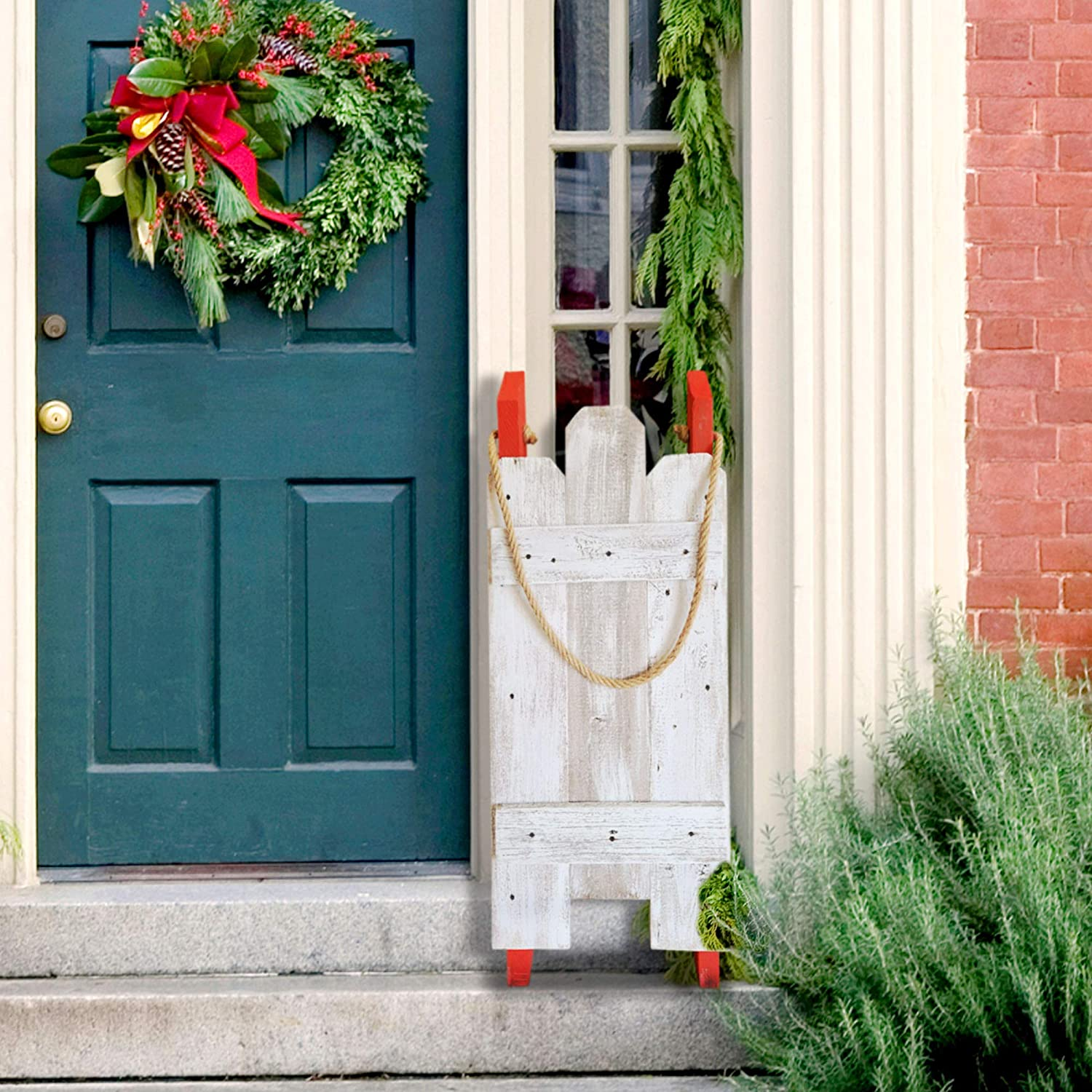 Rustic Wood Sled for Christmas - Holiday Porch Decor - Hand-Painted and Made with Reclaimed Wood (White-Red)
