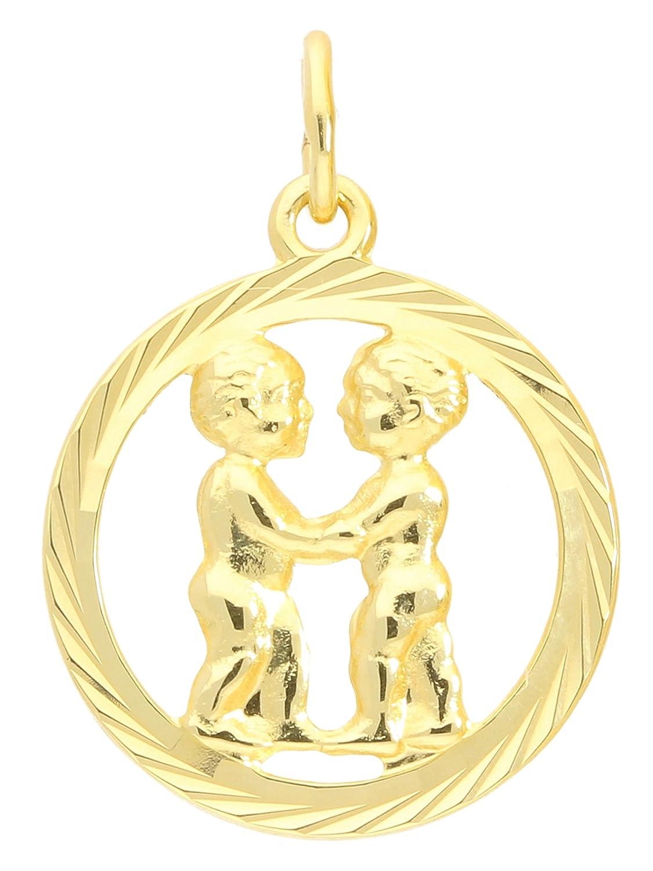 MyGold Pendentif en forme de signe du zodiaque jumeaux (sans chaîne) En or jaune 333(8carats) Diamant Motif intérieur ouvert Ø 15mm rond horoscope signe zodiaque Cadeau Cadeaux sur gavno A-04433-g302-zwi