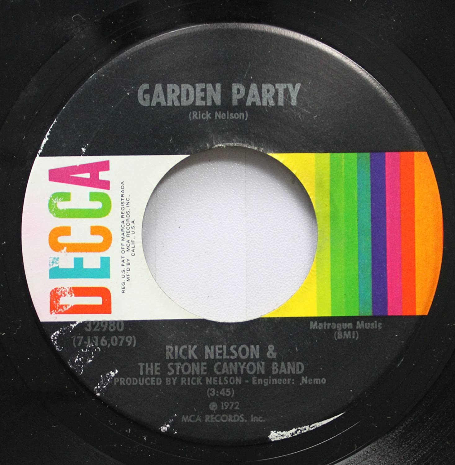 Rick Nelson & The Stone Canyon Band 45 RPM Garden Party / So Long Mama