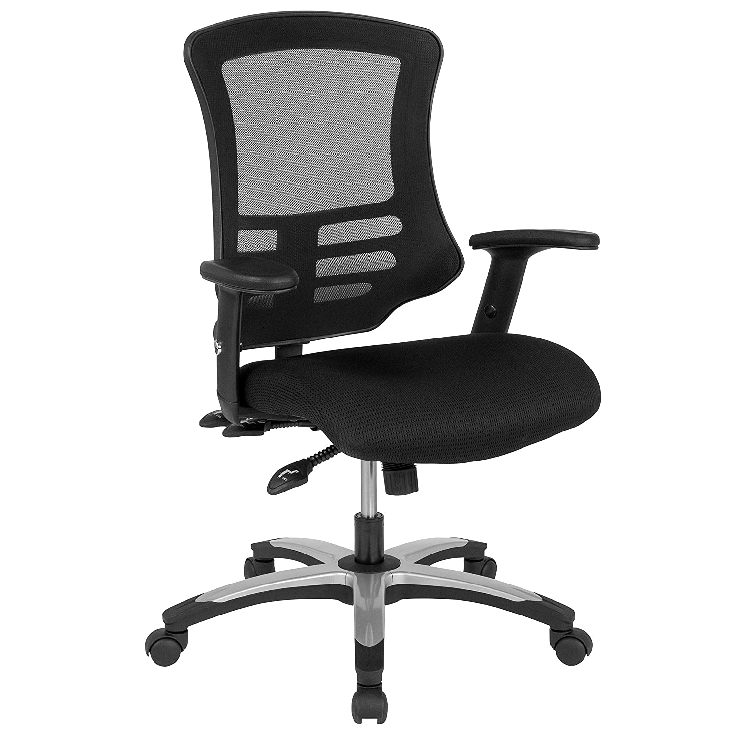 Black Flash Furniture High Back Black Mesh Multifunction Executive Swivel Chair with Molded Foam Seat and Adjustable Arms
