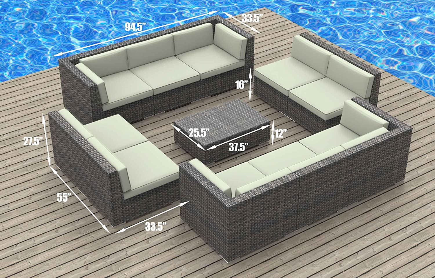 Amazon.com : UrbanFurnishing.net 11a Bermuda Charcoal 11 Piece Modern Patio  Furniture Sofa Sectional Couch Set : Outdoor And Patio Furniture Sets :  Garden U0026 ...