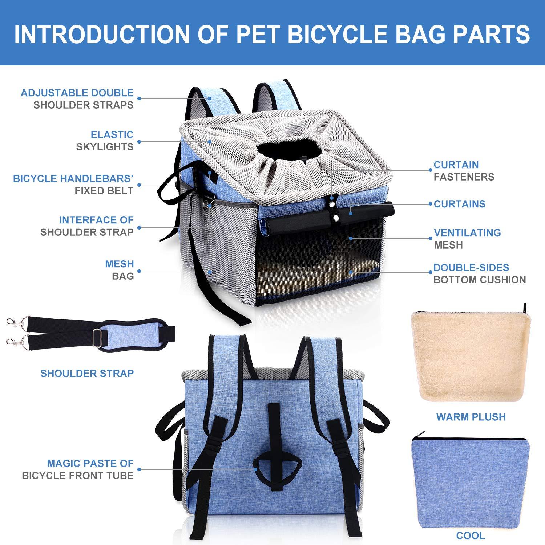Pecute Bolsa de Viaje para Mascotas, Bolsa al Aire Libre, Bolsa de Coche, Bolsa de Bicicleta, Mochila, Portátil y Transpirable Plegable