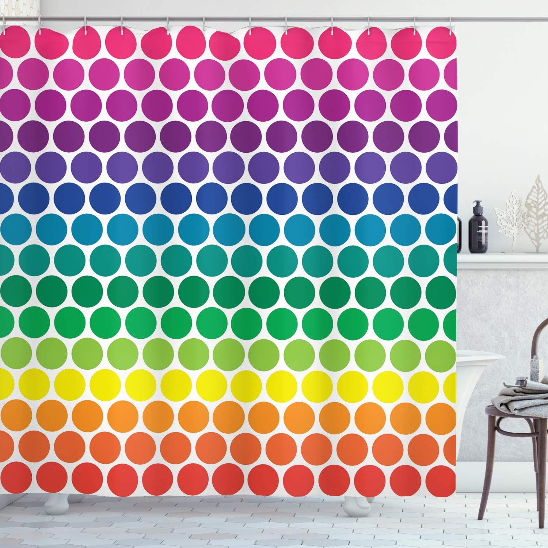 "Ambesonne Polka Dots Shower Curtain, Illustration of Rainbow Colored Dots Big Circles Spots Kids Nursery Theme Print, Cloth Fabric Bathroom Decor Set with Hooks, 75"" Long, Pink Blue"