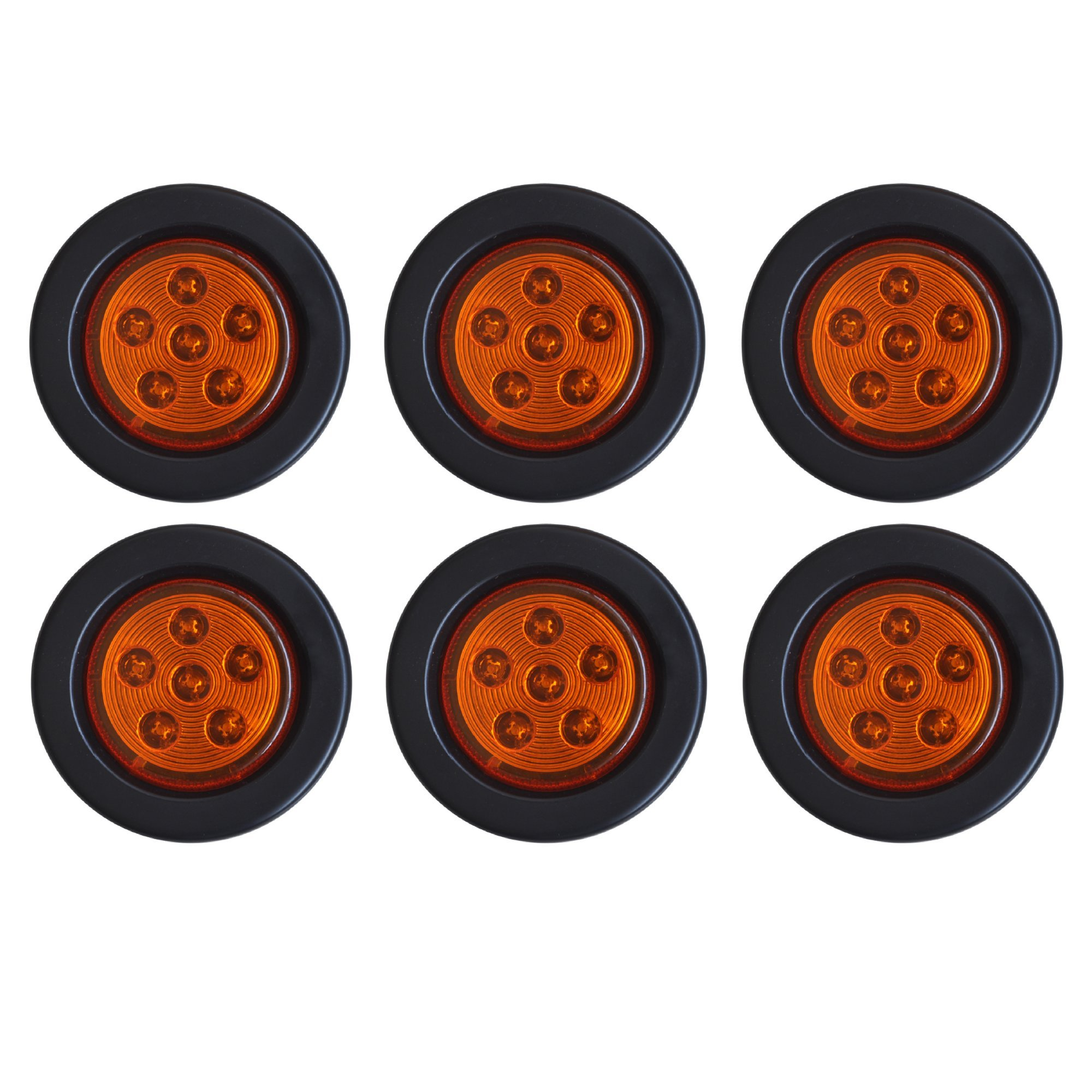 Qty 6-2.5'' Inch Round 6 LED Amber Light Truck Trailer Side Marker Clearance Kit