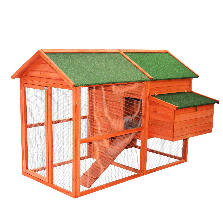 Pawhut 71'' Wooden Backyard Hen House Chicken Coop