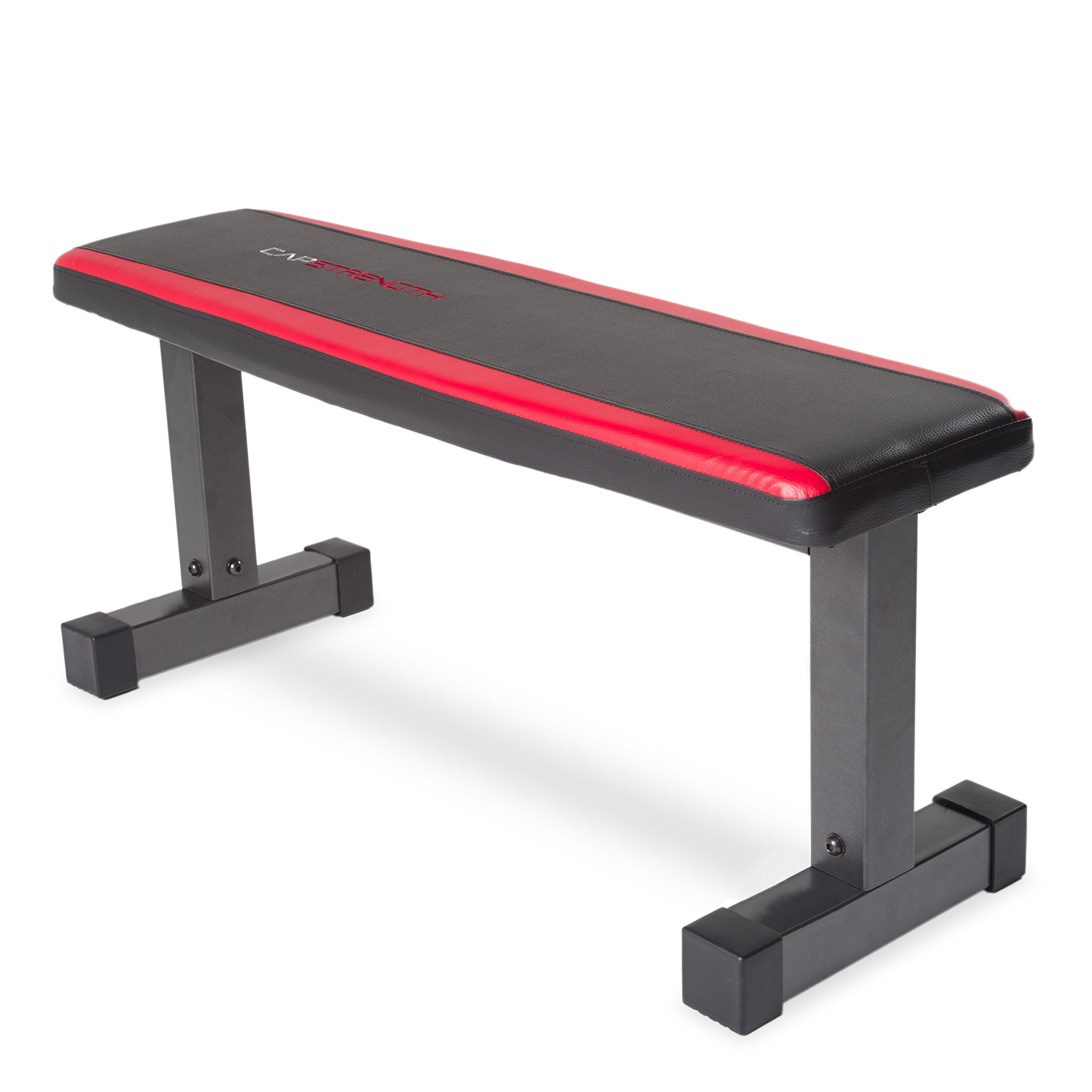 CAP Barbell Memory Foam Flat Bench, Black/Red by CAP Barbell