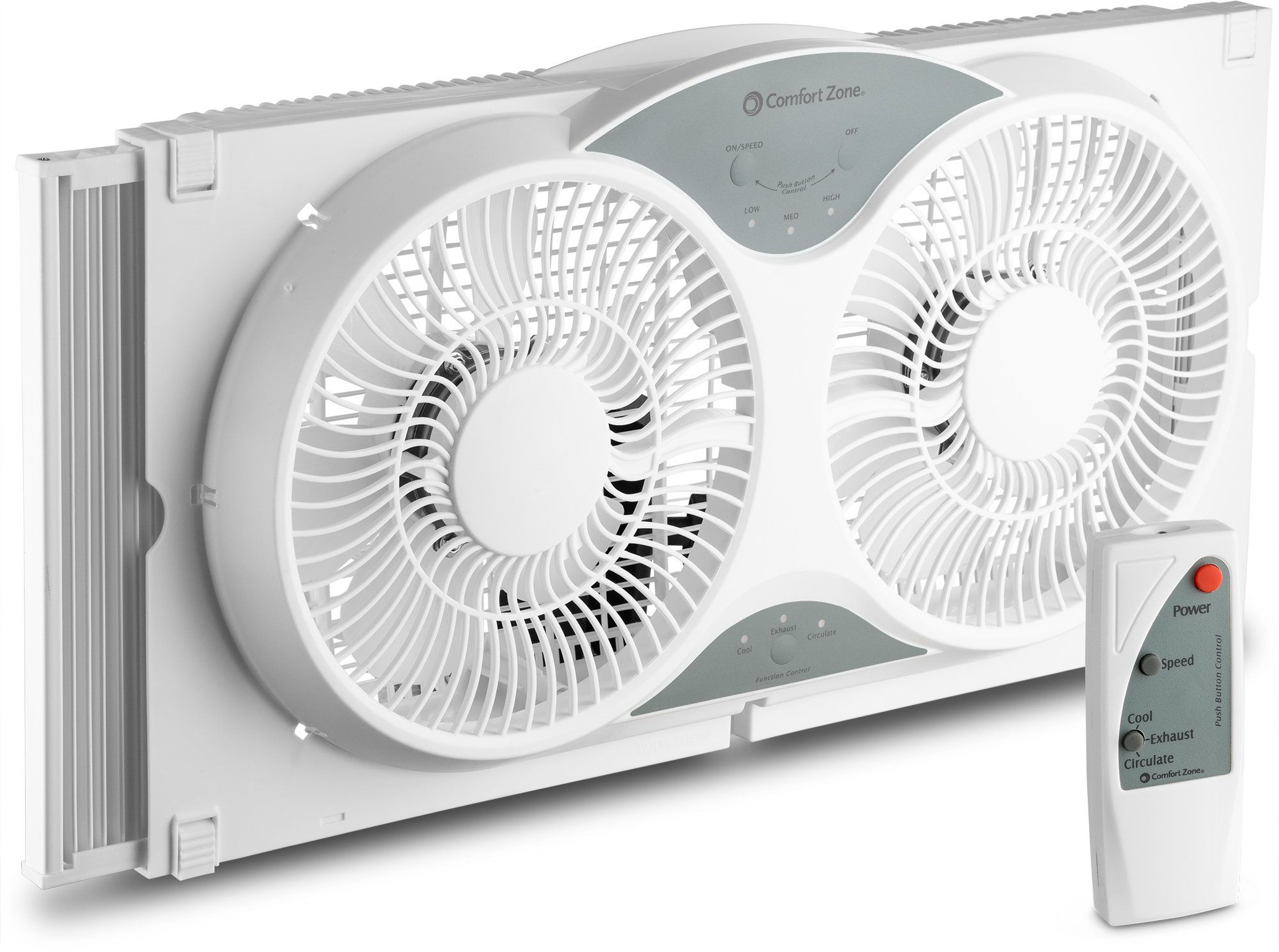 BOVADO USA Twin Window Cooling Fan with Remote Control - Electronically Reversible - Includes Bug Screen & Fabric Cover - Locking Extenders to fit Large Windows (Min. 23.5'' Max. 37'') by Comfort Zone by BOVADO USA