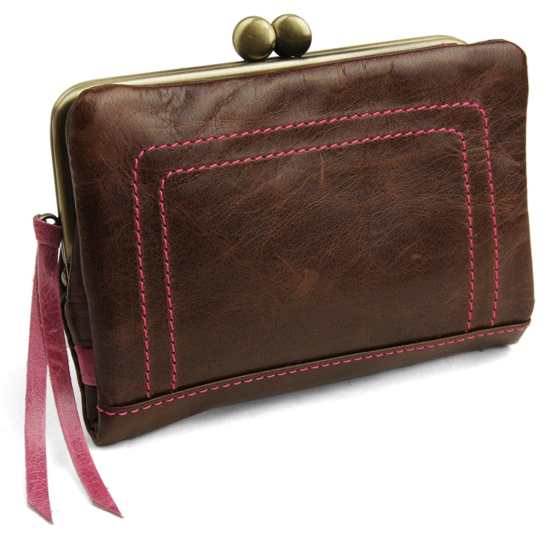 [パッカパッカ] pacca pacca 日本製 馬革 レディース がま口 二つ折り財布 袋縫いタイプ B00SUTCH4U チョコ チョコ