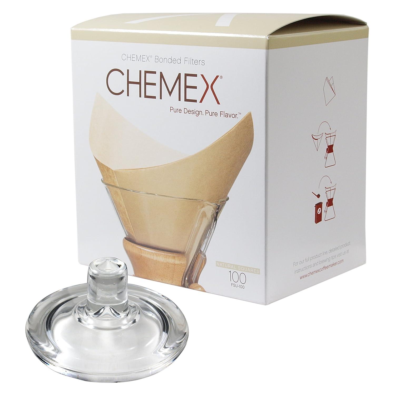 Chemex Cafetera de cristal tapa y 100 Count Bonded cuadrado ...