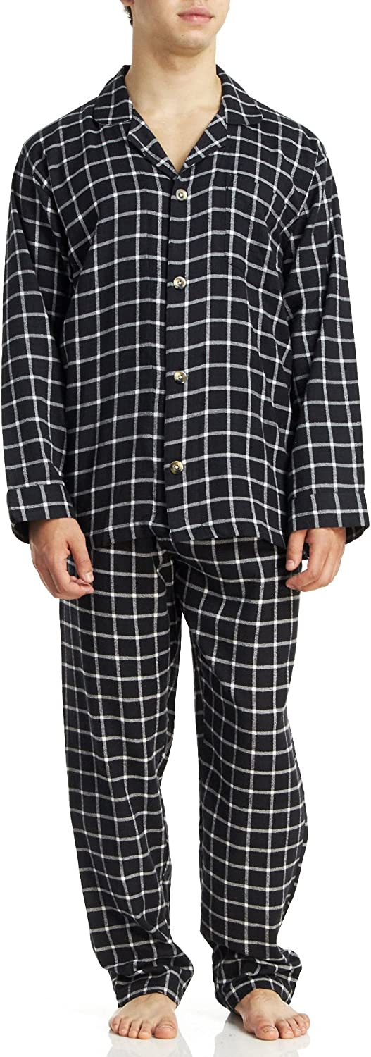 Geoffrey Beene Men's Long Sleeve/Pant Cotton Flannel Pajama Set