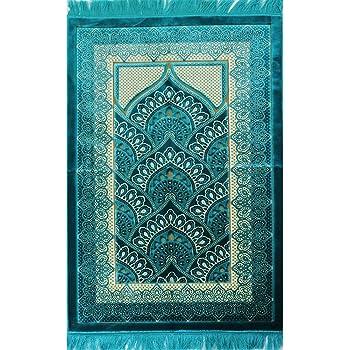 Amazon. Com: islamic prayer rug wide plush velvet quality namaz.