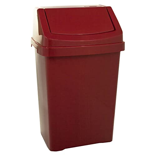 Wham High Grade Plastic Chilli Red Flip Top Waste Rubbish Kitchen Bin Dustbin (Small - 8 Litre)