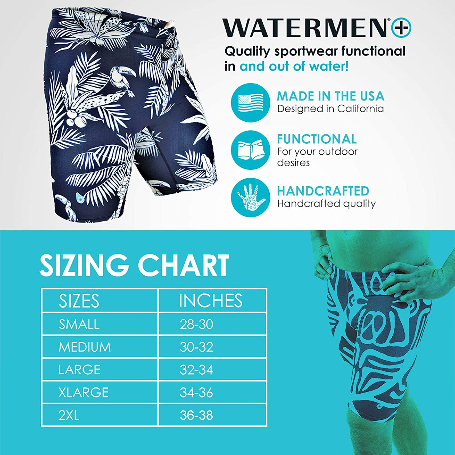 17d98ed594 Amazon.com : Original Watermen Mens Jammers Compression Speed Swimsuit  Liners, Chlorine Resistant, Double Dye Anti Rash Fade Flexible : Clothing