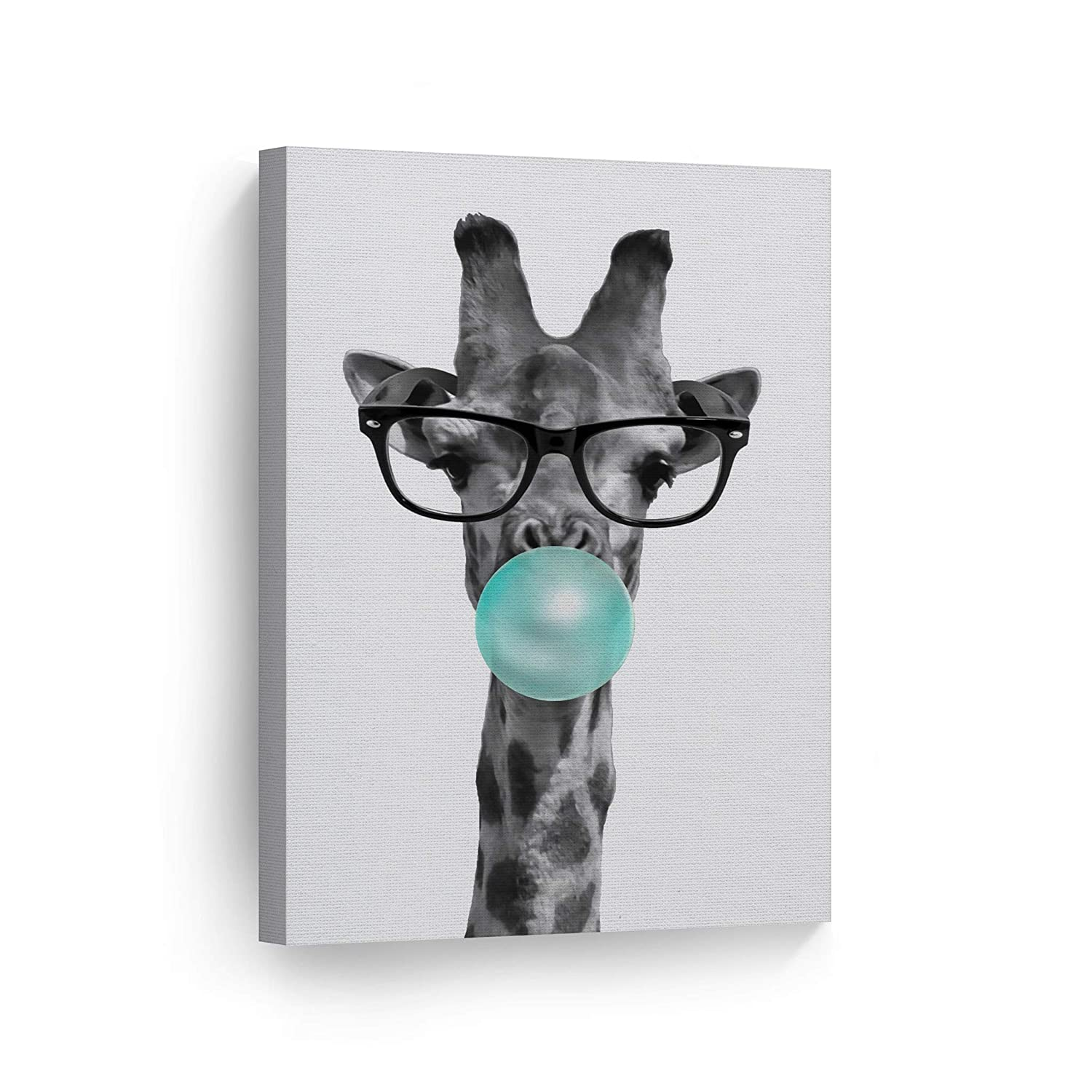 Cute Giraffe with Glasses Animal Decor Bubble Gum Art Teal Blue Canvas Print Black and White Wall Art Home Decor Nursery Room Decor Stretched Ready to Hang- Handmade in USA - 12x8