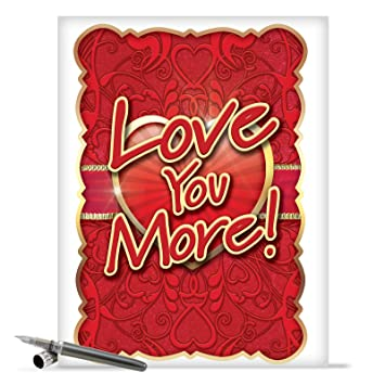 j2133 jumbo funny valentines day greeting card jumbo love you more valentines day card