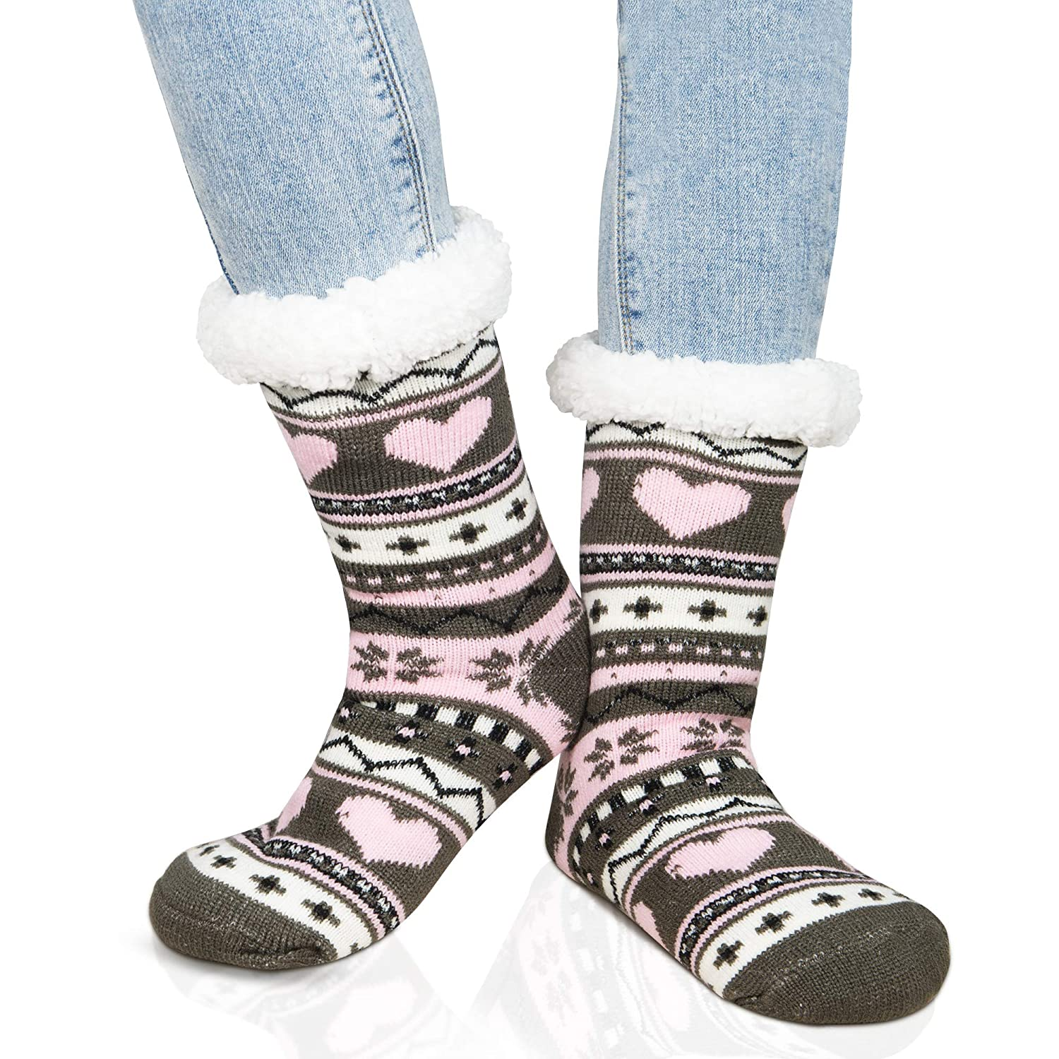 American Trends Womens Girl's Cute Soft Fuzzy Socks Cozy Winter Warm Slipper Socks ATTFAS2671SHA1P