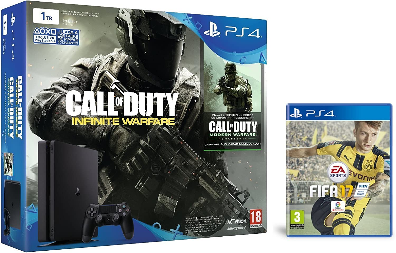 PlayStation 4 Slim (PS4) 1TB - Consola + COD: Infinity Warfare - Legacy Edition + FIFA 17: Amazon.es: Videojuegos