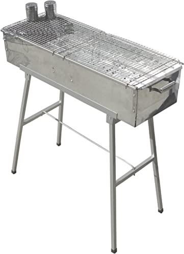 """Party Griller Yakitori Grill 32"""" x 11"""" Portable Stainless Steel Charcoal Barbecue Grill"""