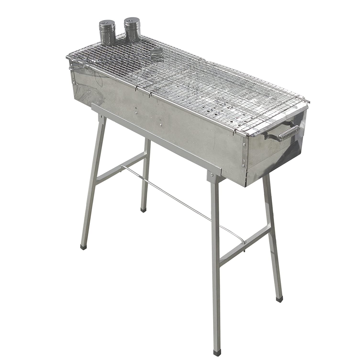 "Party Griller Yakitori Grill 32"" x 11"" - Portable Stainless Steel Charcoal Barbecue Grill w/ 2X Stainless Steel Mesh Grate. BBQ Kebab, Satay. Makes Juicy Shish Kebob, Shashlik, Spiedini on The Skewer"