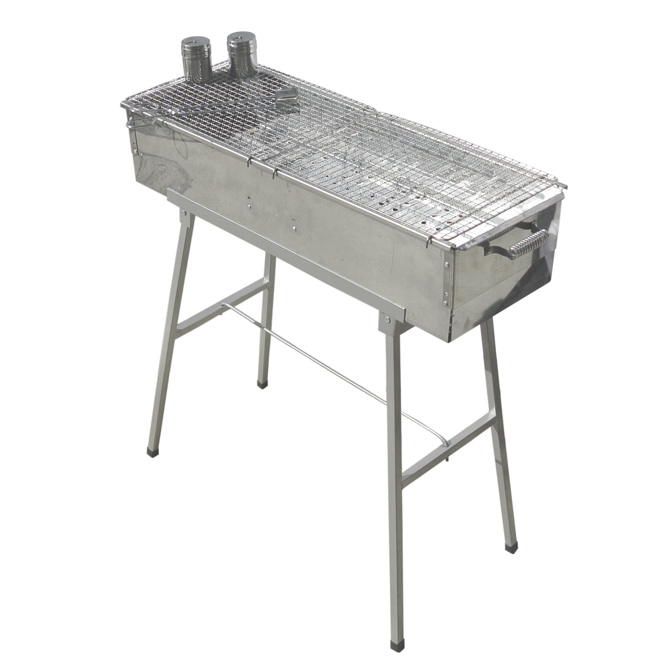 Party Griller 32'' x 11'' Stainless Steel Charcoal Barbecue Grill w/ 2x Stainless Steel Mesh Grate - Portable BBQ Kebab, Satay, Yakitori Grill. Makes Juicy Shish Kebob, Shashlik, Spiedini on the Skewer