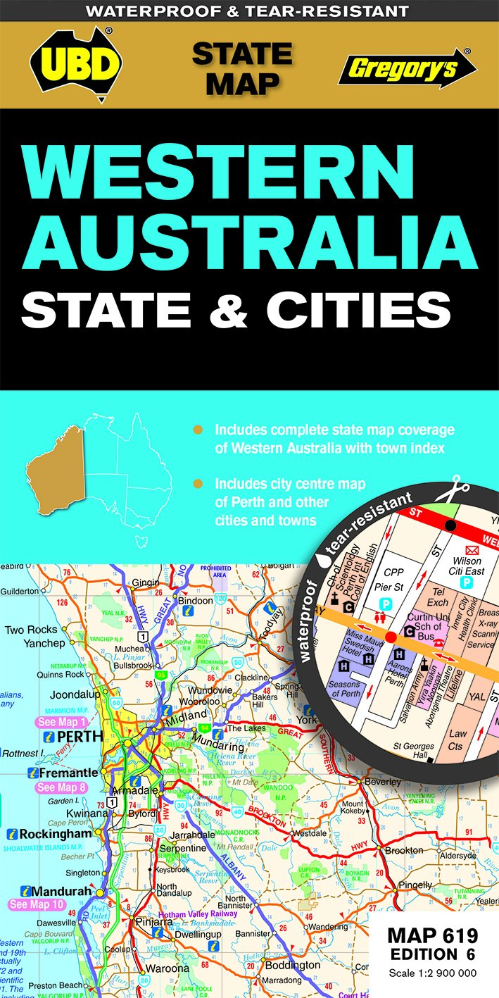 Australia Map In R.Western Australia State Cities 619 R V R Wp State Map Amazon