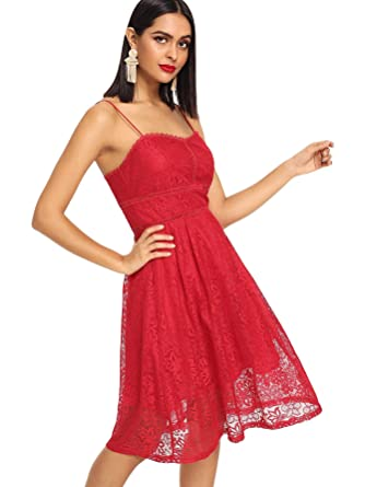 ef03a2f3c8c7 Milumia Women s Vintage Floral Lace Cami Dress Spaghetti Strap Sleeveless Summer  Dress Red-2 L at Amazon Women s Clothing store