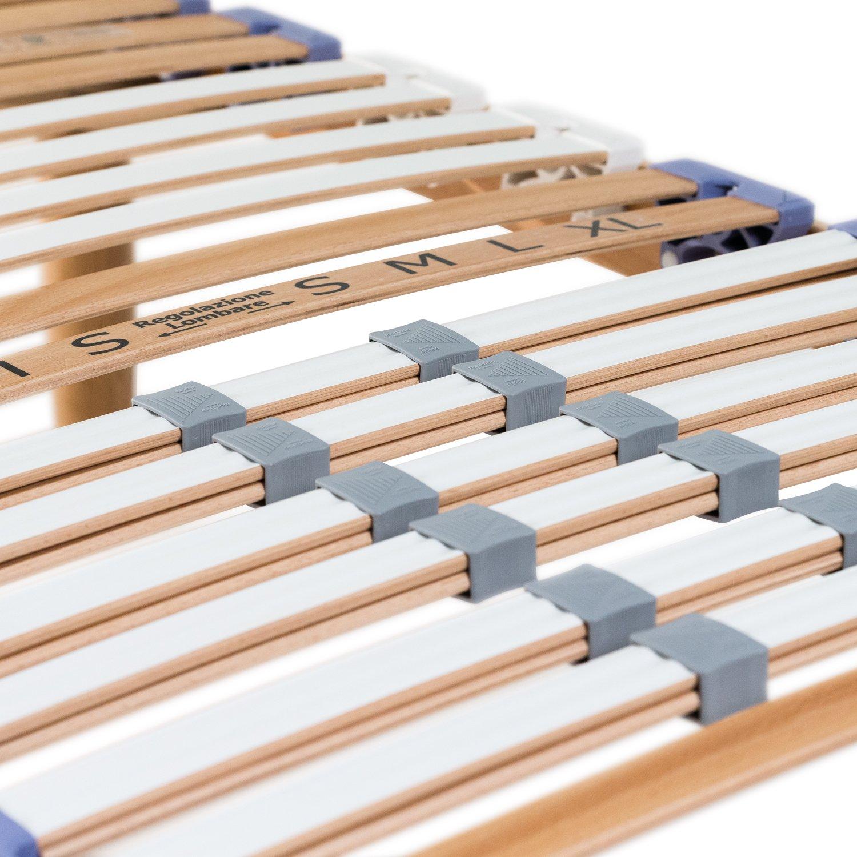 Goldflex - Red a láminas de madera ortopédico a Ajuste Manual y inclinación cabeza Ð pies separado - Vers. Simple de 80 x 190 cm - 13 pares de plisada ...