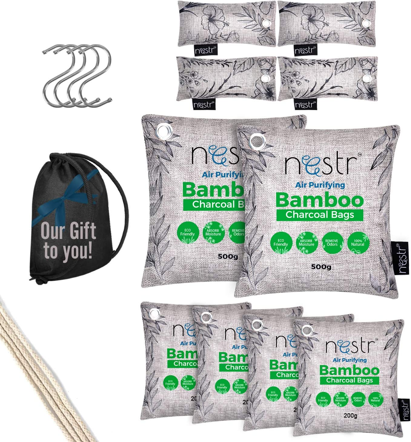 Nestr Nature Fresh Charcoal Bags - 10-Pack Home & Car Activated Bamboo Charcoal Air Purifying Bag, Closet Deodorizer, Freshener, Dehumidifier, Absorber, Musty Smell Eliminator for Basements