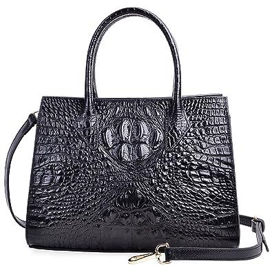 472d839b6 PIJUSHI Women Handbags Top Handle Satchel Leather Tote Bags for Ladies  (8890 Black Croco)
