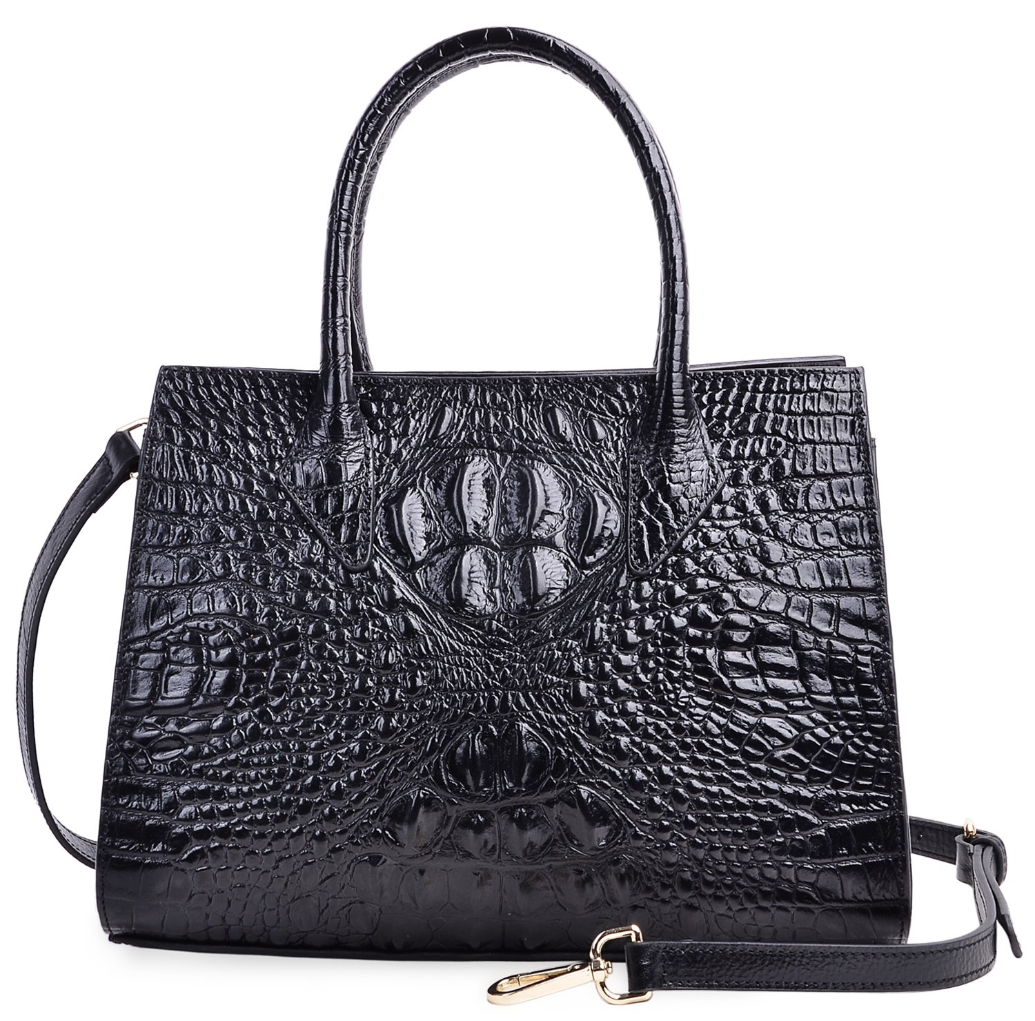 PIJUSHI Women Handbags Top Handle Satchel Leather Tote Bags for Ladies 8890(One Size, Black Croco)