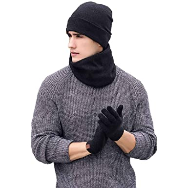 c904ef47 Tuopuda Men Women Hat Scarves Gloves Set Thermal Winter Warm Knitted Beanie  Hat Neck Warmer and Touchscreen Gloves (black): Amazon.co.uk: Clothing
