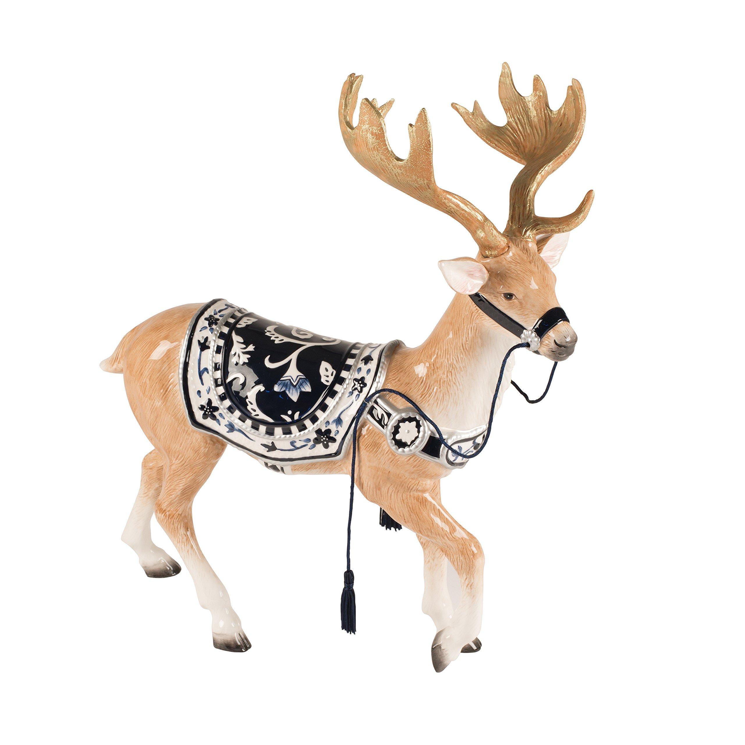 Fitz and Floyd Bristol Holiday Deer Figurine, Blue/White