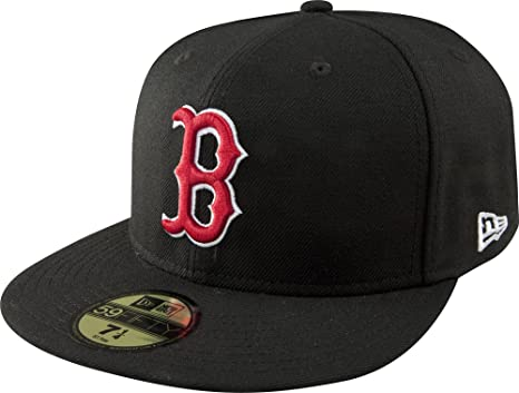 07e3794dea61da Amazon.com : MLB Boston Red Sox Black with Scarlet and White 59FIFTY Fitted  Cap : Sports Fan Baseball Caps : Clothing