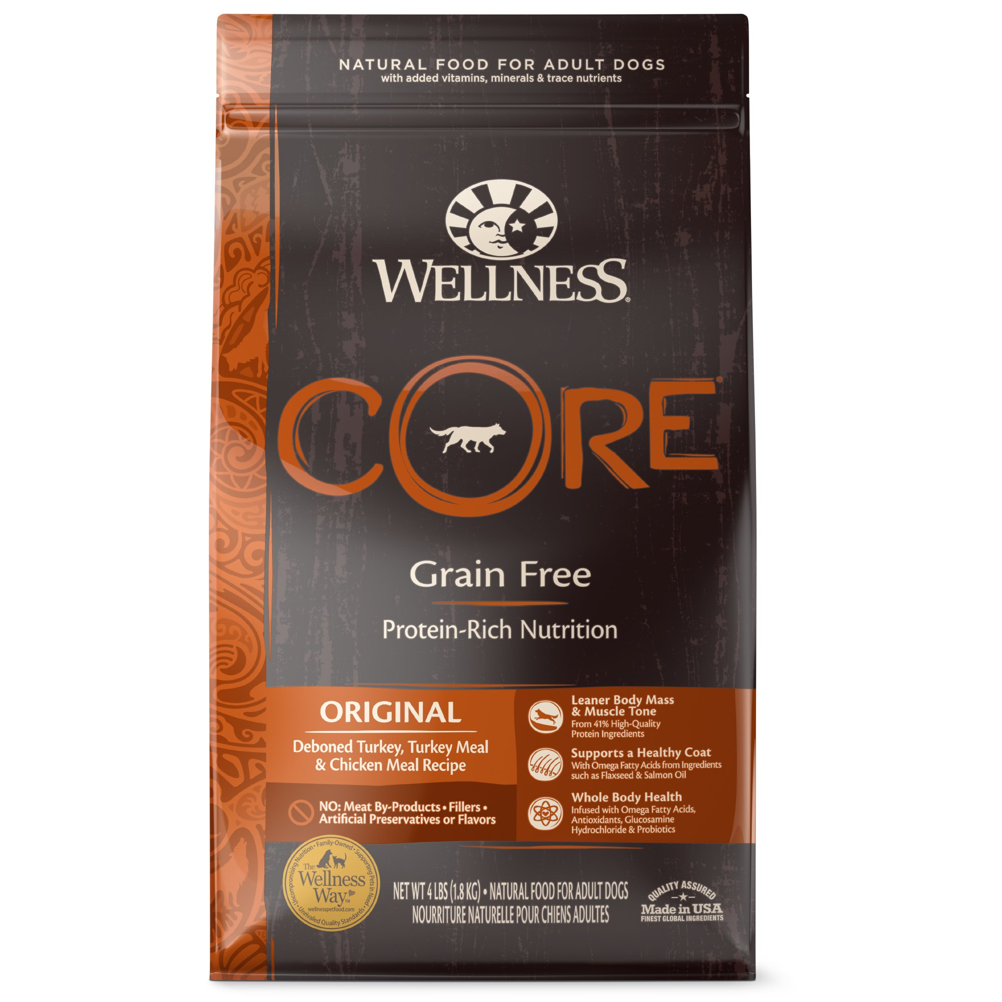 Wellness CORE Natural Grain Free Dry Dog Food Standard Packaging 4-Pound Bag