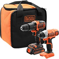 Black+Decker BCK21S1S-QW BCK21S1S-QW-Kit de Taladro Atornillador de Impacto inalámbrico (1 batería, Incluye Bolsa de…