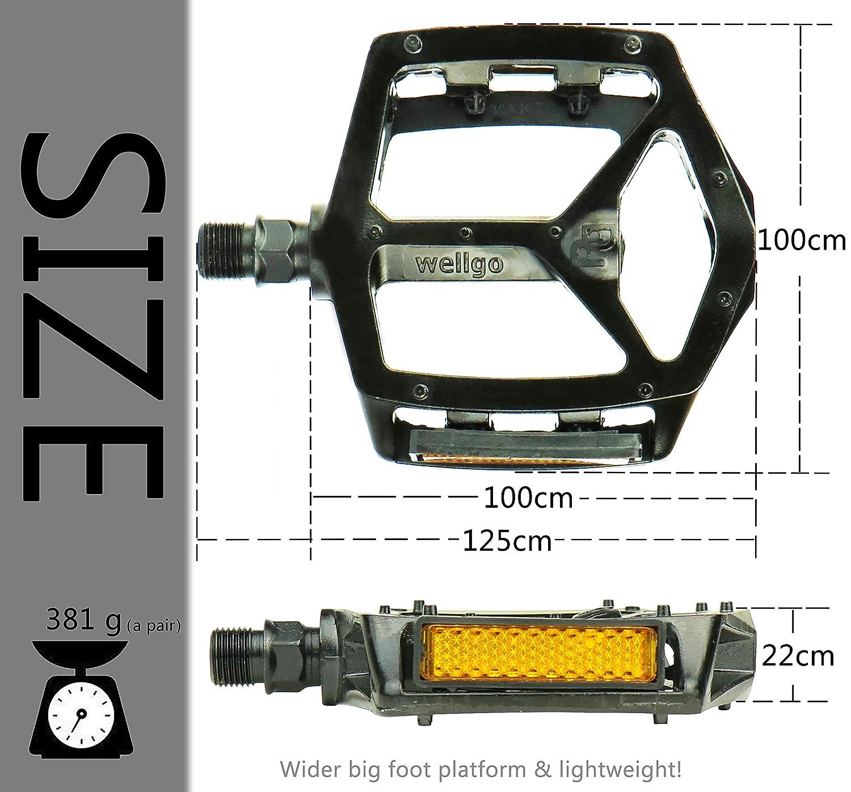 CRAZYMAN Pedal de Bicicleta de monta/ña para Pedales de Bicicleta universales de 1//2 x 9//16 Pulgadas