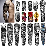 Yazhiji Extra Large Temporary Tattoos 8 Sheets Full Arm Tattoos and 8 Sheets Half Arm Tattoo Stickers for Men and Women…