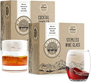 Unbreakable Stemless Wine and Cocktail Glasses, 8 Wine and 4 Cocktail, Total of 12 Glasses