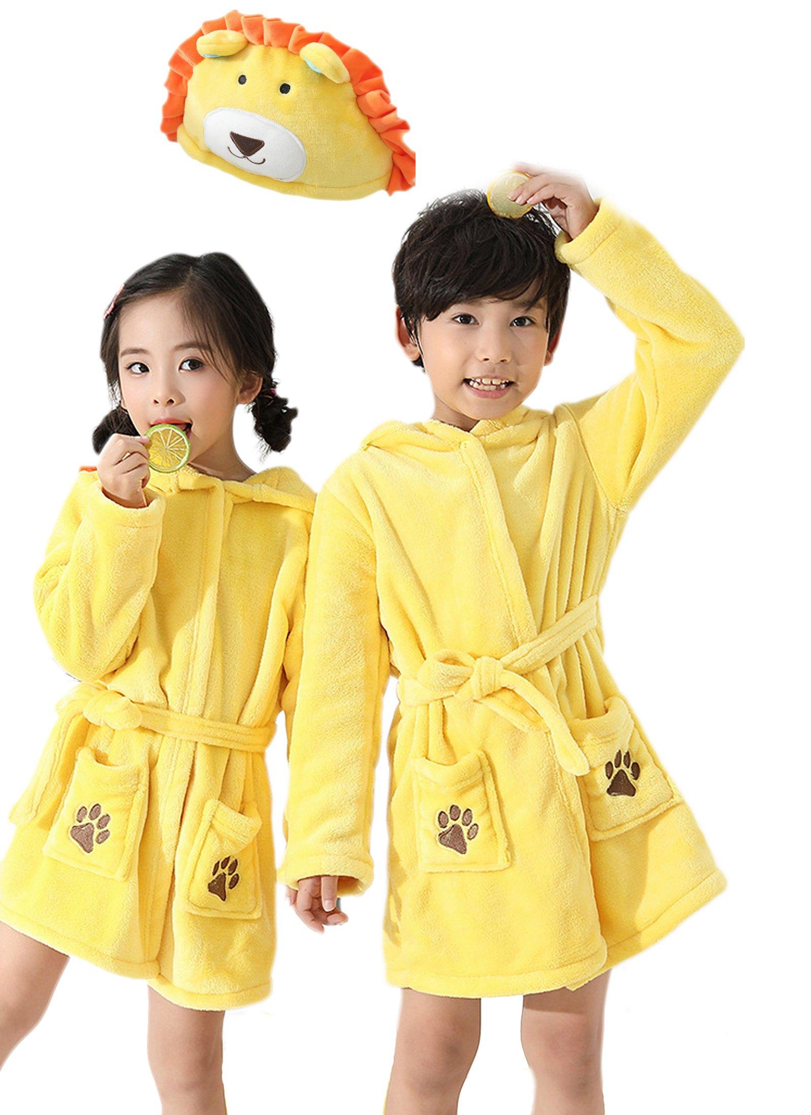 EPLAZA 3-6 Year Girl Boy Flannel Hooded Cute Animal Robe Sleepwear Kid Bathrobe Convertible Pillow (Tag 120, Yellow Lion)
