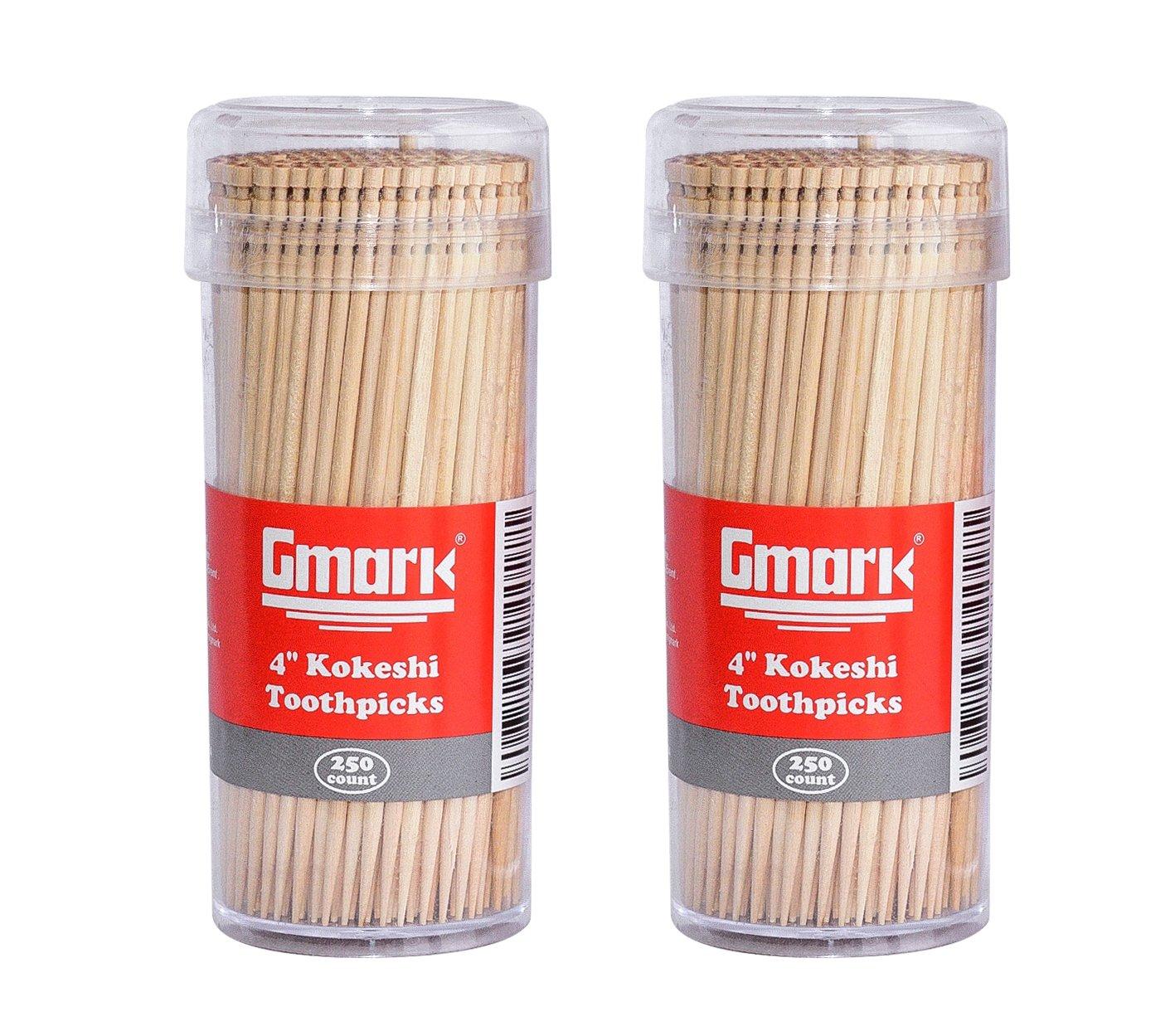 Gmark Premium 4'' Kokeshi Toothpicks Skewers 500ct (2 Packs of 250) GM1034