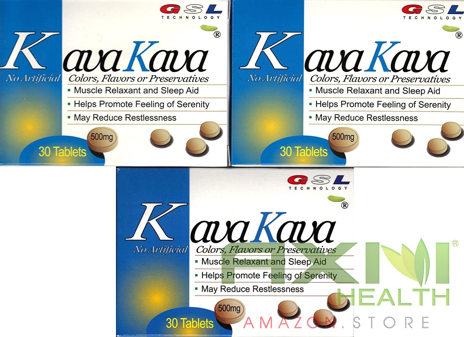 (3 Packs) Kava Kava Muscle Relaxant and Sleep Aid 500mg Each Tablet (30ct Each)