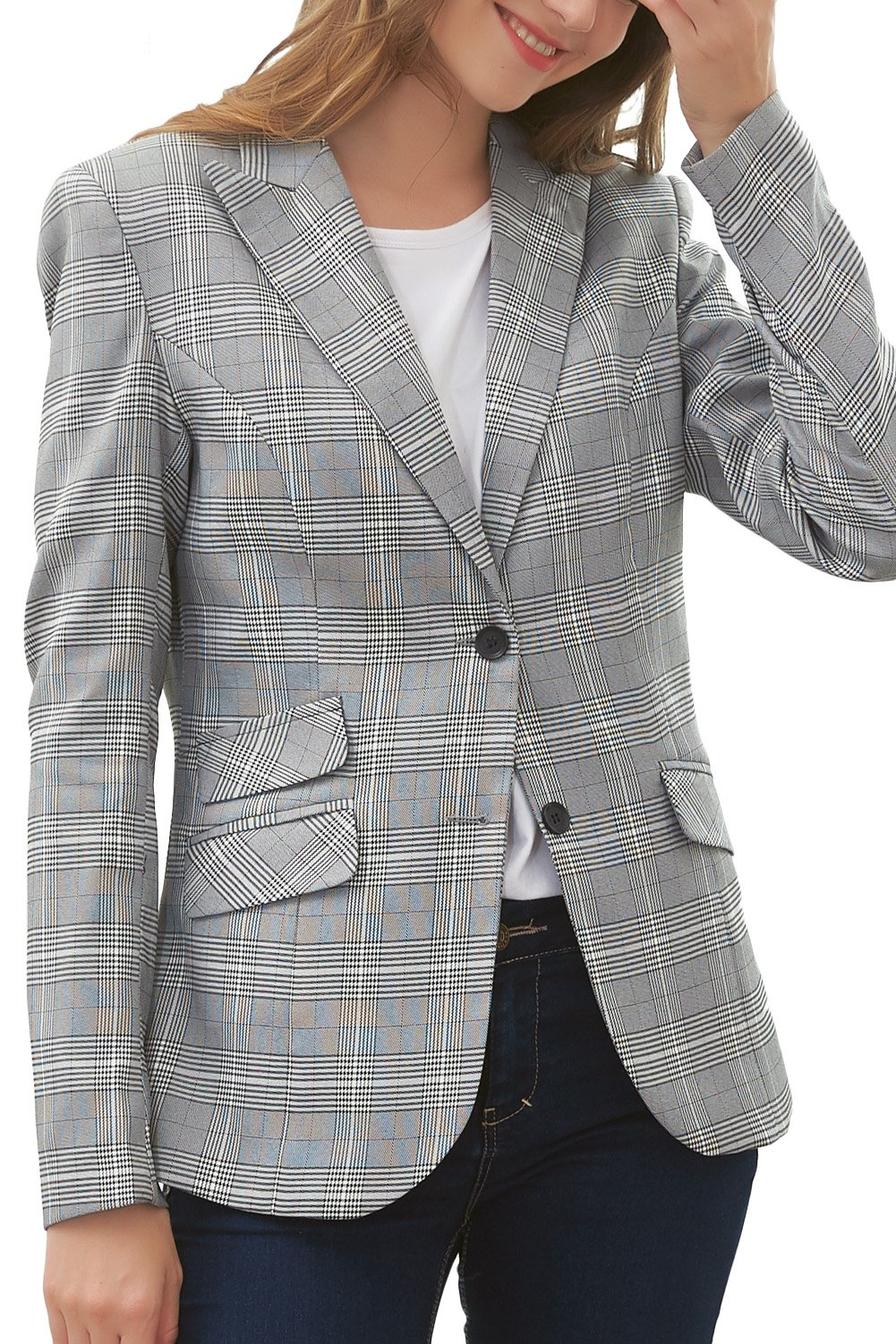 Hanayome Women's Blazer Two-Button Regular Fitted Gray Lattice Formal Separate Suit MI5 (Grey, 18W)