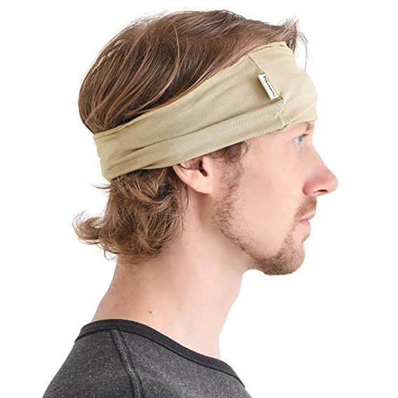 Casualbox Men s Elastic Bandana Japanese Long Hair Dreads Head Wrap (Beige 0bc4c33ff2f